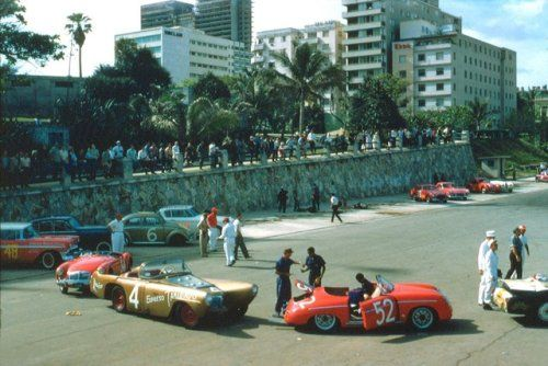 A mixture of everyday European cars, big American cars, small sports cars and powerful GT cars line up for the 1958 Gran Premio de Cuba. The race will always be remembered as the time Fidel Castro had Juan Manuel Fangio kidnapped on the race day.