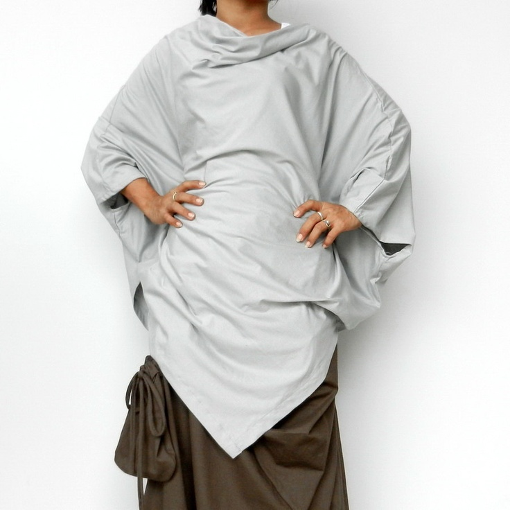 Ladies Poncho Top, Unique Styling,Pale Grey Cotton Jersey.