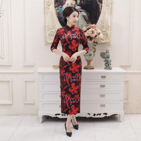 Traditional Black with Red Flowers Velour Half Sleeve Tea Length Cheongsam Evening Dress