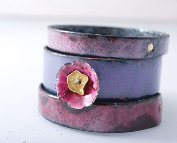 LILLY ROSE  enameled bracelets  hand made  gift  by OYRZANOWSKA