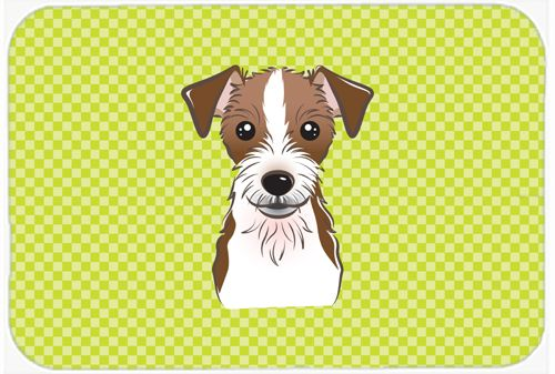 Checkerboard Lime Green Jack Russell Terrier Mouse Pad - Hot Pad or Trivet BB1264MP #artwork #artworks