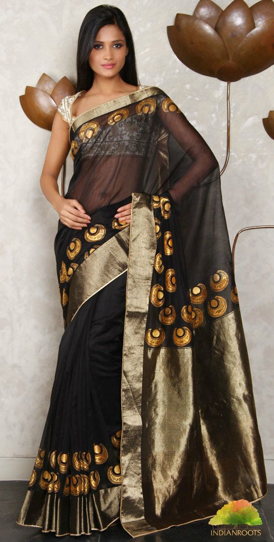 Black Chanderi saree with Golden Motifs by Rohit Bal at Indianroots.com