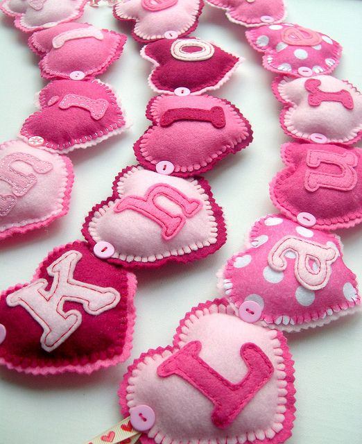 Handmade Felt Pink Heart Name Banners - love!! This would be cute to put on their chairs for v-day