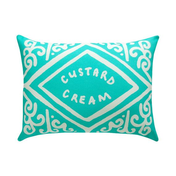 Custard Cream Printed Cushion  Mint by nikkimcwilliams on Etsy