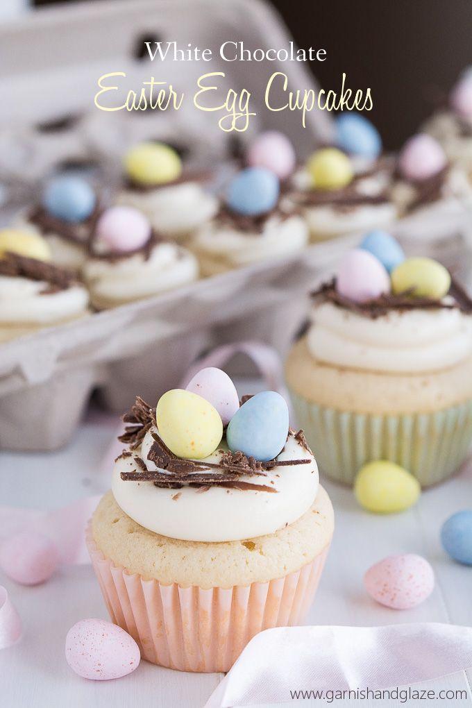 White Chocolate Easter Egg Cupcakes   Garnish & Glaze