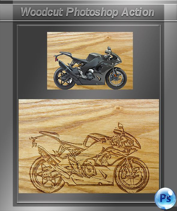 GraficAction   Woodcut Photoshop Action