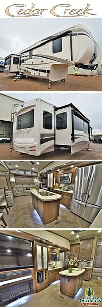 www.TheGreatOutdoorsRV.com Cedar Creek Champagne 38EL  If you have that Champagne taste then you MUST see this beautiful and elegant floor plan. This 5th wheel has everything you can think of, from 3 AC units to a built in solar charging station. The living room offers a new 48 inch fireplace and a 60 inch flat screen T.V. while the kitchen offers a induction cook top with its own cookware.