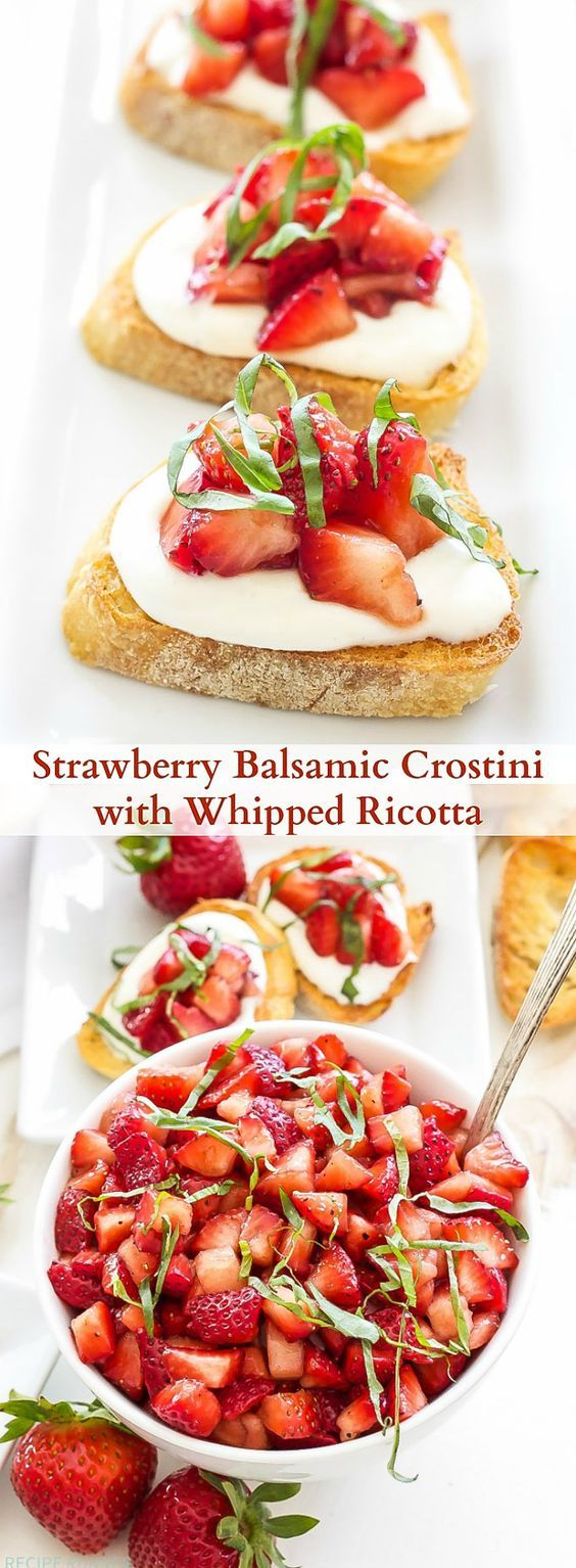 Strawberry Balsamic Crostini with Whipped Ricotta   Sweet and savory Strawberry Balsamic Crostini with Whipped Ricotta is the perfect summery crostini to serve as an appetizer or small bite at your next brunch or party!