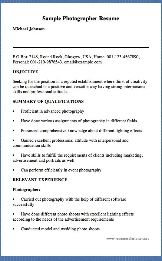 Sample Photographer Resume Michael Johnson P O Box 2148
