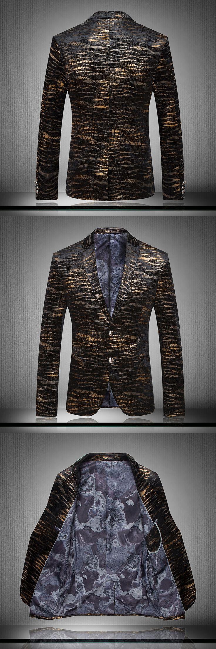BOU 2017 men import flannel suit Fashion golden flower suit Velvet black gold striped suit