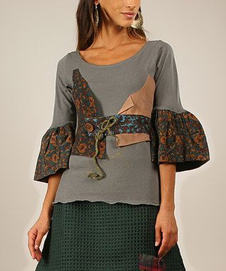 Khaki & Gray Patchwork Bell-Sleeve Scoop Neck Top