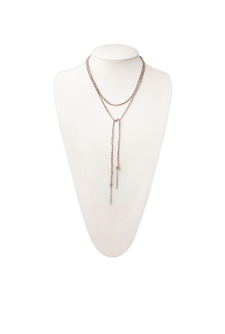 SOGOLI DESIGN  - link to close up HANDCRAFTED BRAIDED SILVER CHAIN AND RAYON NECKLACE  - CAN BE USED AS NECKLACE, CHOKER, HEADBAND, BELT, OR BRACELET