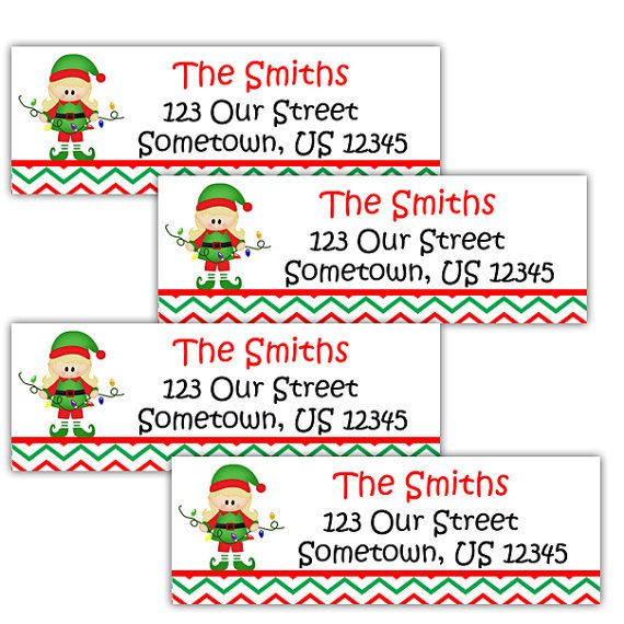 Christmas Elf Personalized Address labels or Package Labels