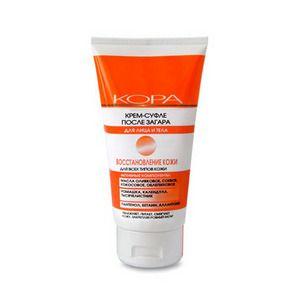 КРЕМ-СУФЛЕ ПОСЛЕ ЗАГАРА Кора (Россия) Оказывает комплексное воздействие:  успокаивает кожу; восстанавливает; увлажняет; устраняет шелушения и покраснения кожи; обладает заживляющими свойствами; поддерживает эластичность кожи; нейтрализует разрушительное действие свободных радикалов; замедляет преждевременное старение кожи.
