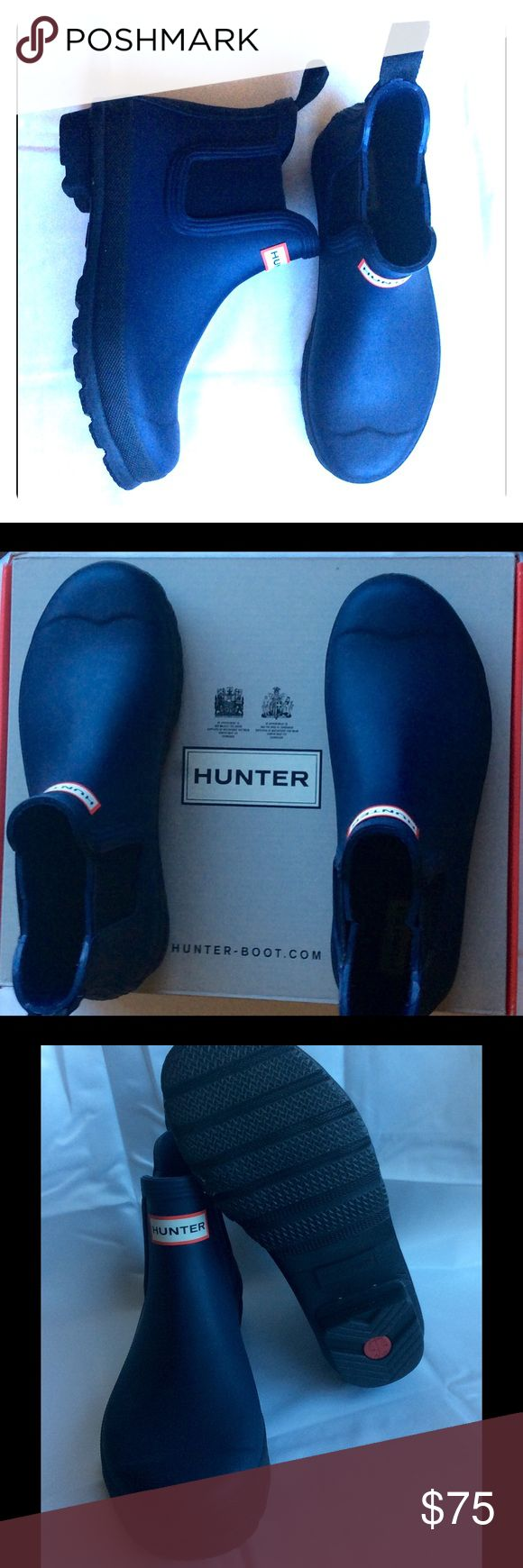 HUNTER Chelsea Rain Ankle Boots in Midnight, US 8 Sturdy rubber boots to protect your feet from whatever nature throws at you. Never worn. Hunter Boots Shoes Winter & Rain Boots