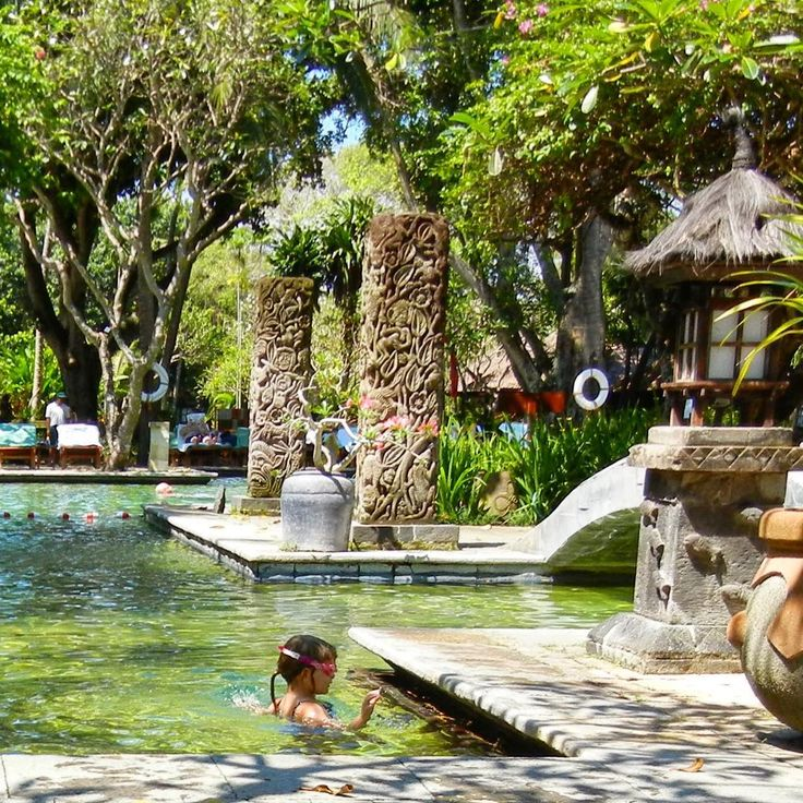 Our favourite pool in Bali - the green pool at the Hyatt, Sanur. Many happy hours spent splashing & squealing (my daughter not me!). Currently the rebuild is stalled but I can't wait to see how they have preserved the stunning gardens & pool when it finally reopens.