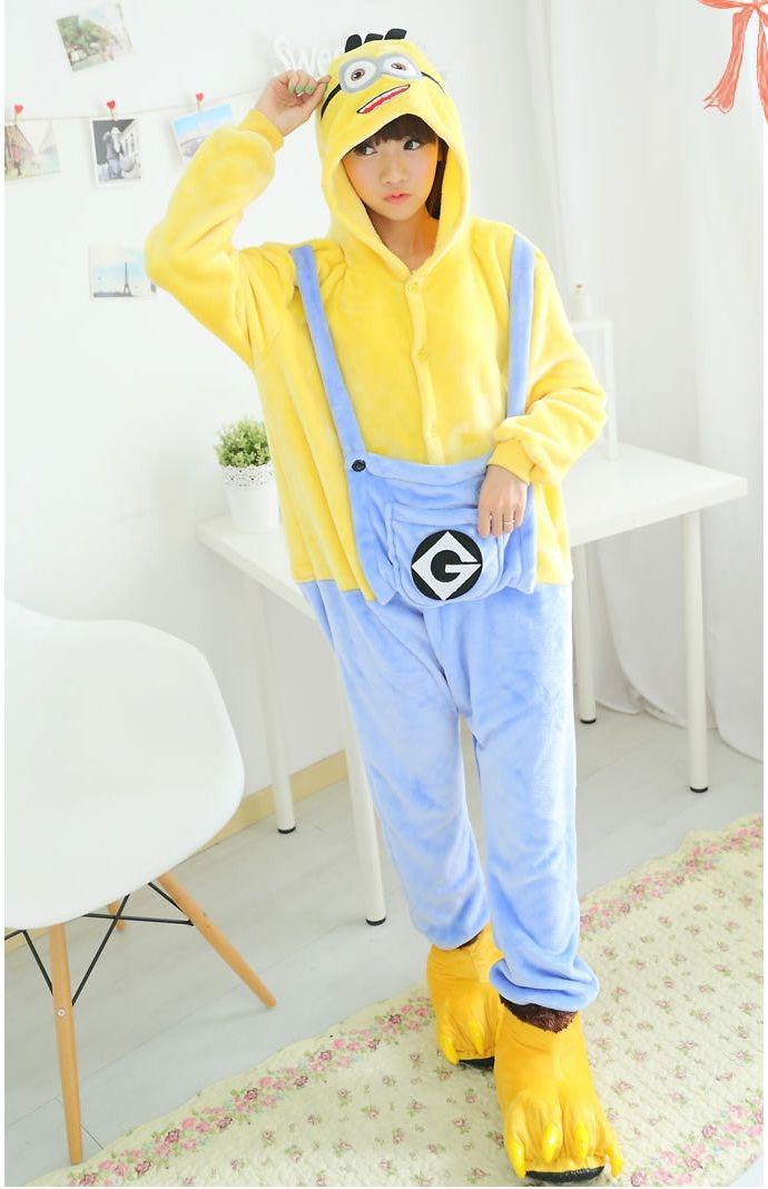 Flannel family animal pajamas one piece onsies onesies cosplay pyjama minion pijama minion pigiama pijamas enteros de animales
