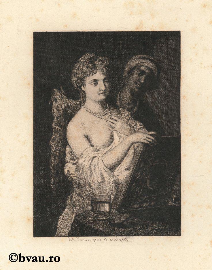 """Theodor Aman, La oglindă. Imagine din colecțiile Bibliotecii """"V.A. Urechia"""" Galați."""