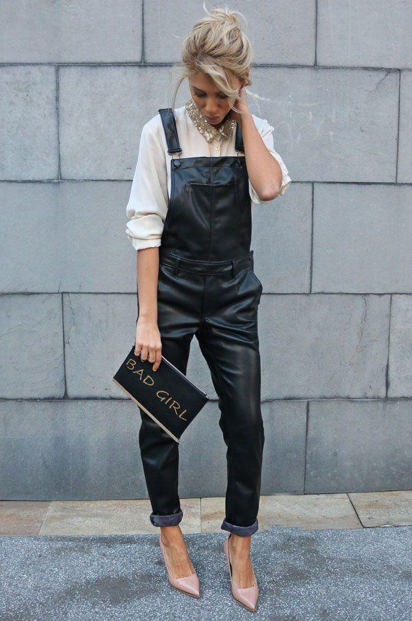 leather-jumpsuit-street-style-fun-bag