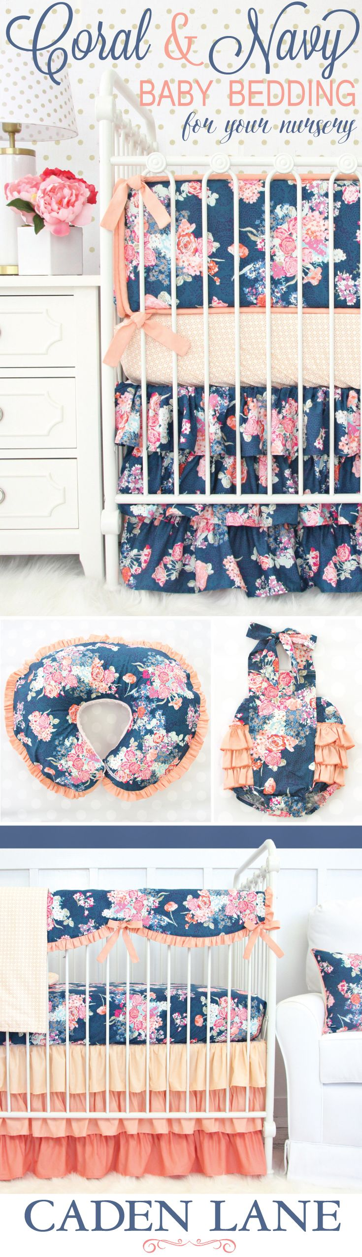 Fall in love with our coral & navy baby bedding and accessories! This nursery trend is completely gorgeous.