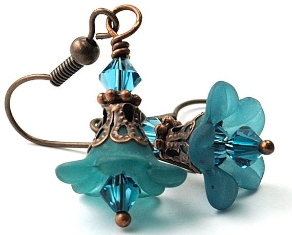 Teal Earrings Bead Earrrings Petite Lucite Flower by Dalim on Etsy, $12.00