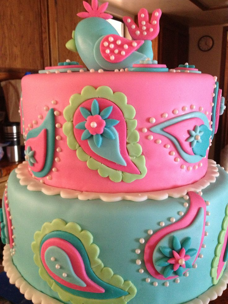Turquoise and pink paisley baby shower cake www.facebook.com/CakesByKarenInParadise