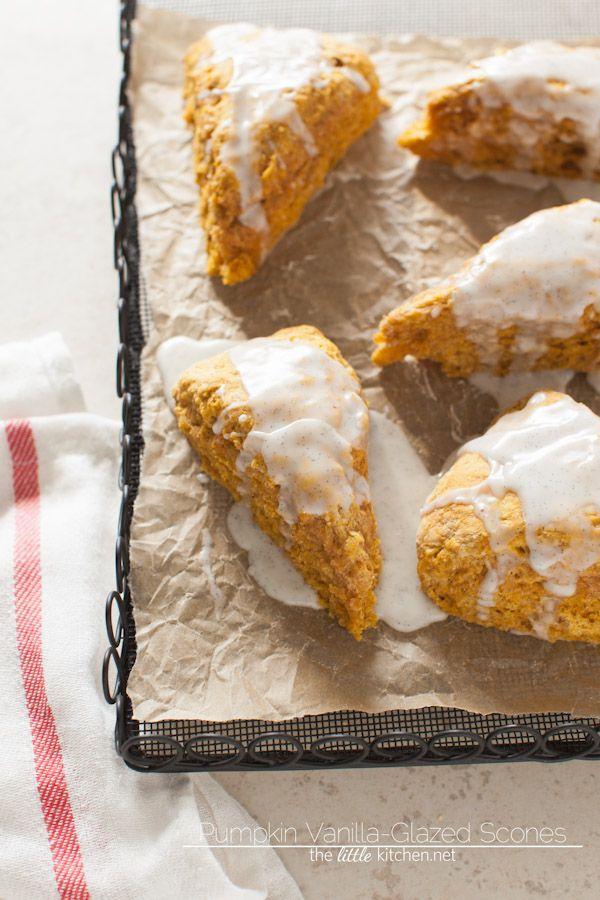Pumpkin Obsessed Vanilla-Glazed Scones from thelittlekitchen.net