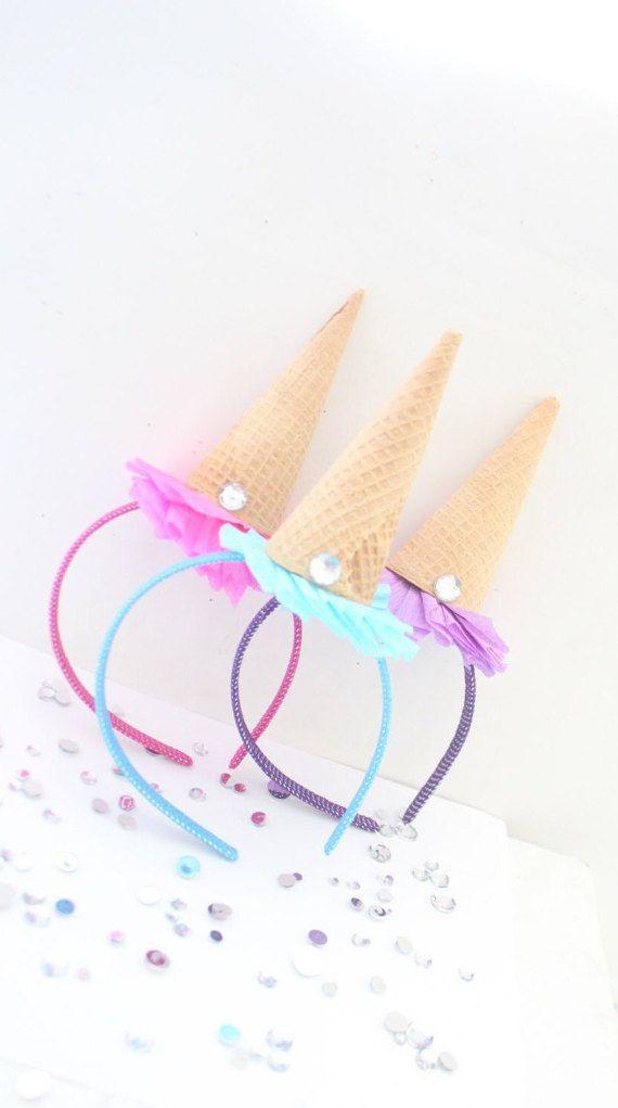 Ice Cream Party Headband/Ice Cream por ThePartyGirlStudio en Etsy
