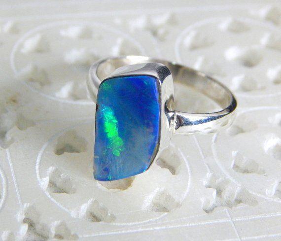 63 Off Australian Opal Ring Doublet Opal Rings 925 Sterling Silver Size Us 7 Blue Green Red Fair Opa Australian Opal Ring Opal Rings 925 Sterling Silver