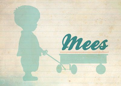 Geboortekaartje op maat gemaakt voor kleine Mees. Kaartje met een vintage look. Lief jongetje met karretje op de voorkant van het kaartje.