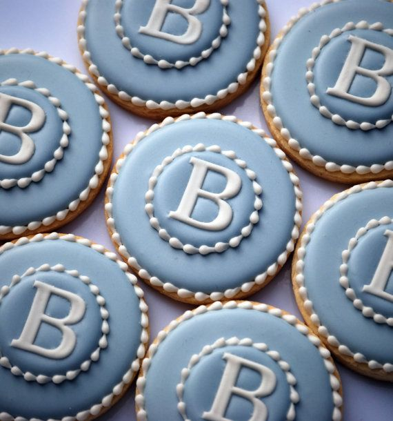 Elengant Blue & White Monogram Cookies One by thesweetesttiers