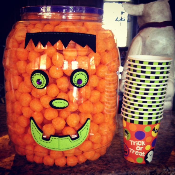 pumpkin cheese balls big container of cheese balls pumpkin face stickers party cups great for halloween birthdaybirthday ideashappy - Halloween Birthday Ideas