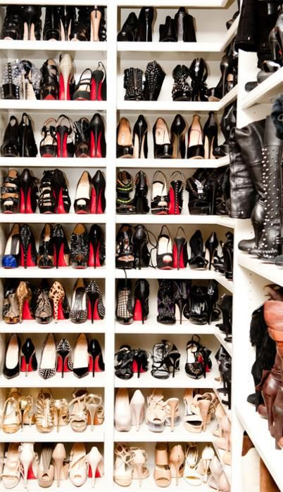 I want this shoe closet!!!!  SHOES SHOES SHOES! I have a shoe addiction and if I had to choose one, Christian Louboutin would be my favorite shoe designer.