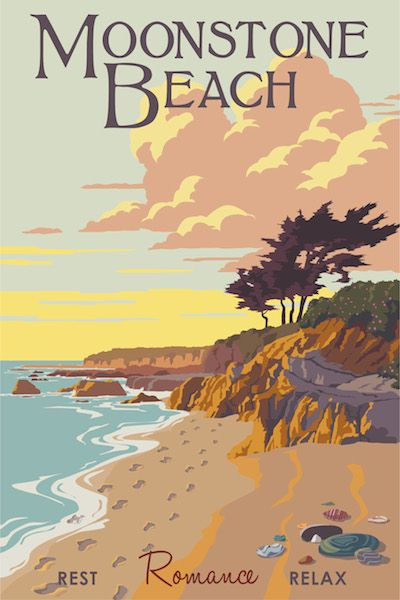 Steve Thomas Art Deco Travel Poster Moonstone Beach Cambria http://justlookinggallery.com/artists/thomas/index.php