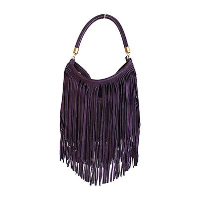 Purple Leather Shopper Bag With Detachable Clutch Bag/Document Holder - £49.99