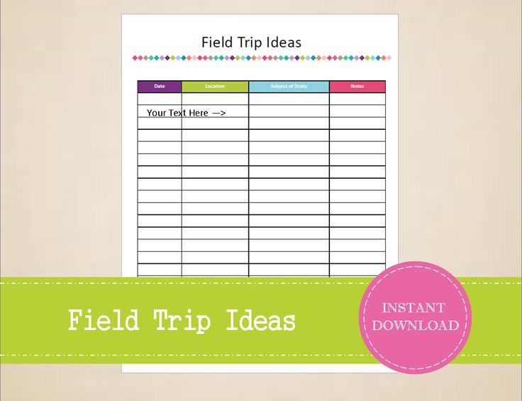Field Trip Ideas Homeschool Planner Teacher Field Trip