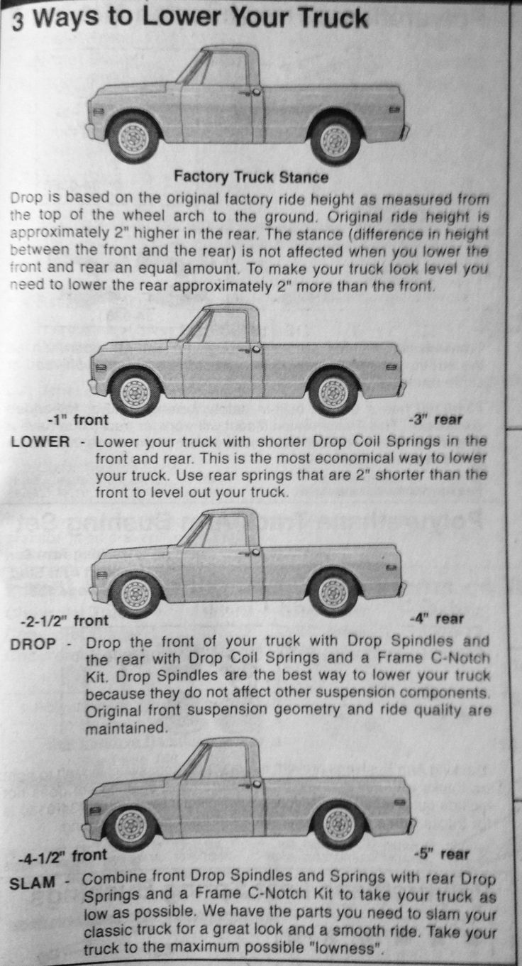 Here's a helpful-but-fuzzy graphic about lowering your truck.  It comes from an LMC truck catalog.  If you don't have one of those, get it...you'll spend hours admiring all the parts they have for your truck.   That said, there's tons of companies on the WWW (World Wide Wait) that sell parts for your 70s Chevy truck.  NOTE: This graphic assumes you are running coil springs both front and rear, as all C10s do, and some C20s do.  Many C20s have leaf springs in back.