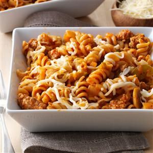 Sausage Pizza Pasta Recipe -It's pizza in a bowl! Here's a terrific (and tasty) way to make sure your kids get the whole grains and vegetables they need to grow up big and strong. —Danna Holt, Shoals, Indiana