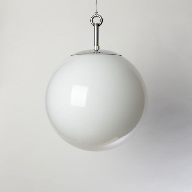 The Opaline Globe Pendant - Classic opaline glass globe pendant lights based closely on the early 20thC originals. Hand-blown glass shades with bespoke polished metal monks-cap fittings. Available on wire/chain suspensions.