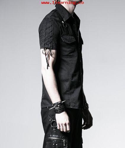 d9bd1a1e3ceac Estilo elegante Punk Rave Hombre Gotico Goth Punk Rock Metal Camisa Negra Y  530 59613758