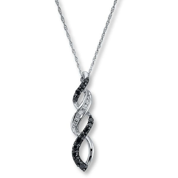 Black White Diamonds 1/3 ct tw Necklace 10K White Gold ($300) ❤ liked on Polyvore featuring jewelry, necklaces, black jewelry, white gold pendant, rope chain necklace, round pendant necklace and white gold diamond jewelry