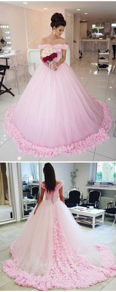 Ball Gown Wedding Dresses,Off shoulder Wedding Dress,Pink Wedding Dress,Tulle Wedding Dress,Pink Quinceanera Dress,Princess Wedding Dress,Wedding Dresses