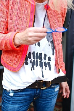 bright short jacket with tee and distressed skinnies. love!!