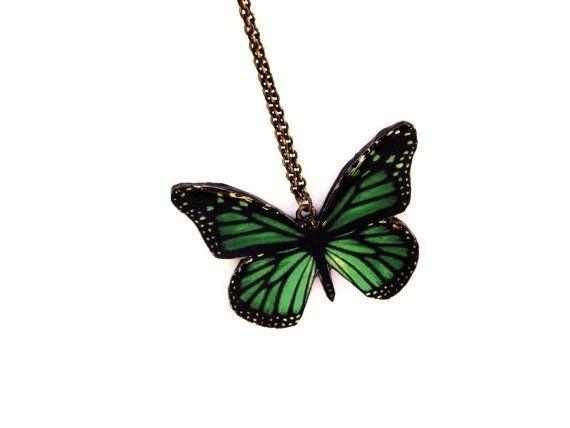 Verde farfalla farfalla monarca collana verde ala di JewelryByIeva