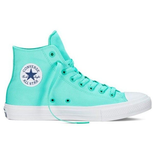 Neon Teal Hi-Top Chuck Taylor All-Star II by Converse ❤ liked on Polyvore featuring shoes, teal blue shoes, converse footwear, hi tops, teal green shoes and neon high top shoes