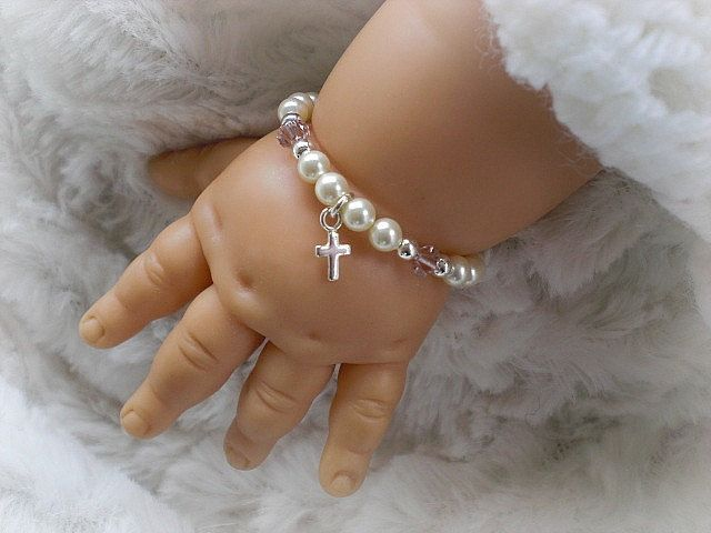 Christening Baptism Baby Gifts-Baby Bracelets-Newborn Jewelry-Gift for Godchild-Infant Jewelry. $18.50, via Etsy.