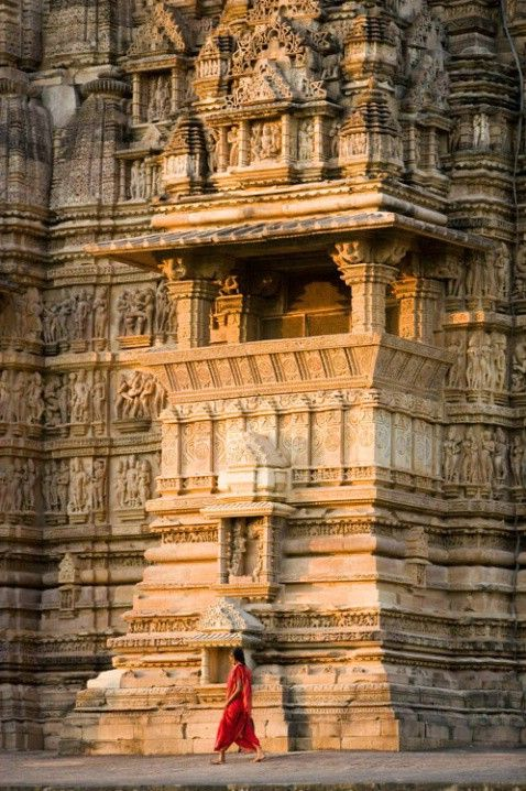 Khajuraho monuments (UNESCO World Heritage Site), India - The temples at Khajuraho were built during the Chandella dynasty, which reached its apogee between 950 and 1050. Only about 20 temples remain; they fall into three distinct groups and belong to two different religions – Hinduism and Jainism. They strike a perfect balance between architecture and sculpture.