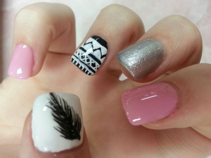 Feathers nails# Aztec nails# tribal pattern nails