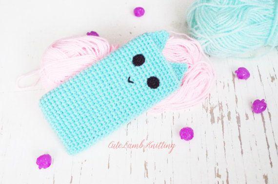 Crochet Phone case crochet blue iPhone Case by CuteLambKnitting