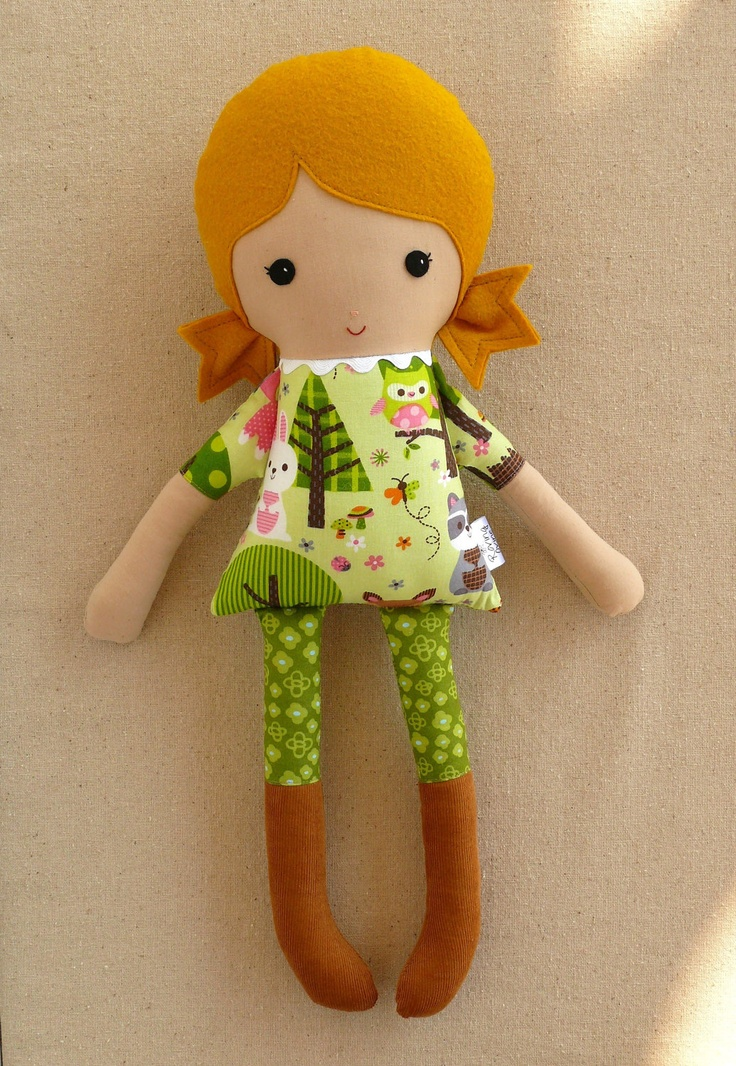 Fabric Rag Doll Girl in Forest Print Dress